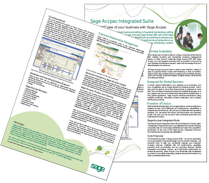 Marketing collateral design and printing for Sage Software India